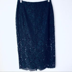Sandro Paris Lined Mid Length Floral Lace Skirt